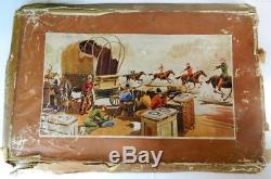 BRITAINS RARE LEAD BOXED 1950s COWBOY & INDIAN SET No. 44s WILD WEST SERIES