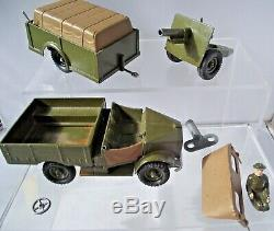 Britains 2048 Beetle Lorry Clockwork Trailer Cannon Boxed