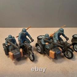 Britains Deetail 4 German motorcycle and sidecars in good condition