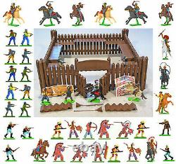 Britains Deetail Fort Commanche with 43 figures poses, colors and bases vary