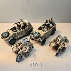 Britains Deetail German Afika Korps 2 Kubelwagens, 2 motorcycle and sidecars