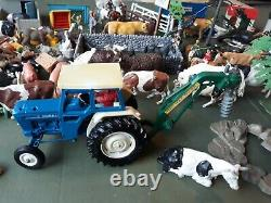 Britains Farm, huge lot, plastic figures, animals, trees, tractors, buildings