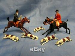 Britains Lead Pre War Hunt Set Mounted Huntsman Woman Movable Arms 5 Hounds Dogs