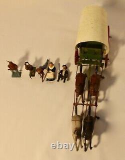 Britains Lead Toy Soldiers COVERED PRAIRIE WAGON 4-Horses 2-Pioneers 3-IndiansVG