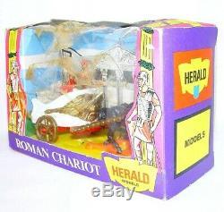 Britains Ltd Herald 132 ROMAN CHARIOT & MOUNTED CENTURION + ARCHERS MIB`74 RARE
