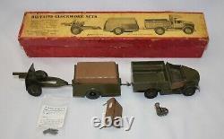 Britains MECHANICAL CLOCKWORK LORRY #2048 BOX. Truck, Wind-Up Trailer, Gun +Ammo