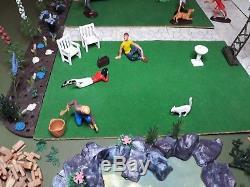 Britains Plastic Floral Garden Display & Complete set of family, folk figures