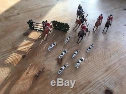 Britains Prewar Lead Hunt Mounted Huntsman Women Hunting Sidesaddle Hounds & Fox