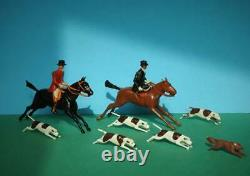 Britains Prewar Lead Hunt Set Full Cry Mounted Huntsmen Woman With Hounds & Fox