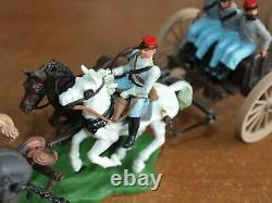Britains Swoppet, Acw, Confederate Limber / Canon Crew, 1/32 Scale Toy Soldiers