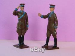 Britains Vintage 1927 V Rare Lead Aa Automobile Scouts Saluting & Walking #578