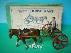Britains Vintage Pre War Boxed Lead Farm Series #8f Horse Hay Rake & Driver