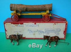 CHARBENS PRE- WAR 1930s RARE BOXED LEAD FARM TREE WAGON HORSES & TIMBER LOAD