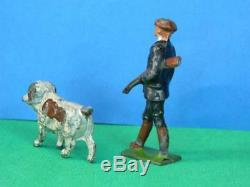 CHARBENS PRE-WAR VINTAGE 1930s VERY RARE LEAD GAME KEEPER AND GUN DOG WITH FOWL
