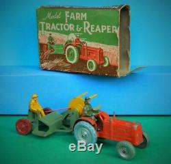 Charbens Vintage 1950 Rare Boxed Diecast & Lead Model Farm Tractor & Reaper Set
