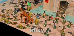 Grand Painted Knights and Wooden Castle Playset 54mm toy soldiers, wood castle