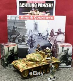 King&Country-Panzer 3+1 Man+2 GermanSoldiers-Retired-Orig Boxes-Hausser-Britains
