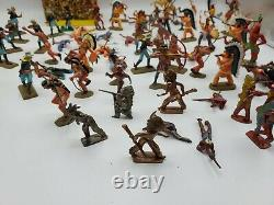 Lot of 80+ 1971 Britains Deetail Cowboys Indians Cavalry Figures Western Fighter