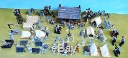 Marx/Britains++ 54mm Civil war Confederate camp custom playset 95 figs ++usedoop
