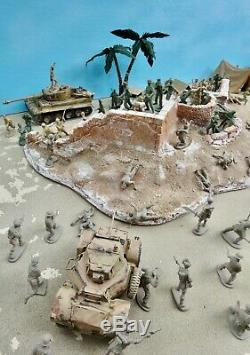 Marx/Britains++ 54mm WW2 Raid on Rommel custom playset 120 figs ++used oop