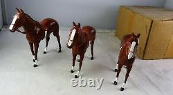 Original Box Of 3 Britains Lead Horses Racing Colors
