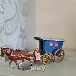 Prewar Charbens 54mm hollow-cast lead Gypsy Caravan. Gypsy Woman is solid cast