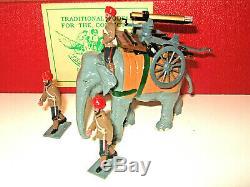 RARE Trophy Miniatures EQ 26 B Indian Army Elephant Gatling Gun Set & Crew, 54mm