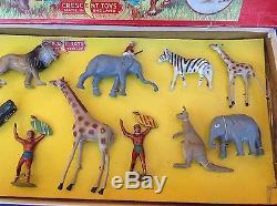 Rare Original Crescent Lead Zoo Safari Toy Set C1940/50