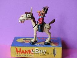 Sacul 1951 Rare Mint Boxed Lead Cowboy Hank & Silver King Childrens Tv Figurres