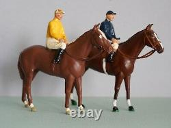 Two Vintage Britains Racing Horses With Jockeys, Colours Of Famous Owners