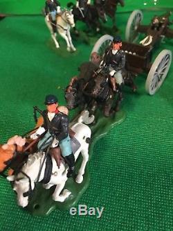 Vintage And Original Britains Swoppet Union Gun Limber +horse Soldiers X 3 Ex Co