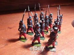 Vintage Britains 12 French Line Infantry Marching At The Slope, Colors
