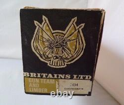 Vintage Britains 7434 Acw Confederate Gun Team And Limber Soldiers Seated Boxed