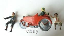 Vintage Britains Lead Civilian Motorcycle And Sidecar With Rider And Passenger
