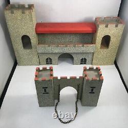 Vintage Britains Wooden Castle Front with Drawbridge Britains Soldiers