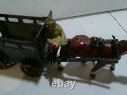Vintage Rare Lead Farm Horse And Cattle Trailer With Figures And Bull
